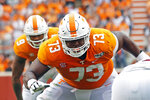 FILE - Tennessee offensive lineman Trey Smith (73) blocks in the first half of an NCAA college football game against South Carolina, Saturday, Oct. 26, 2019, in Knoxville, Tenn. Trey Smith is a candidate for the Outland Trophy, as the outstanding interior lineman. (AP Photo/Wade Payne, File)