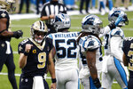 New Orleans Saints quarterback Drew Brees (9) reacts after diving over the pile for a touchdown in the first half of an NFL football game in New Orleans, Sunday, Oct. 25, 2020. (AP Photo/Brett Duke)