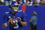 New York Giants quarterback Daniel Jones looks to pass during the first half of an NFL football game against the Atlanta Falcons, Sunday, Sept. 26, 2021, in East Rutherford, N.J. (AP Photo/Bill Kostroun)