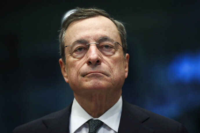 European Central Bank President Mario Draghi arrives for a meeting of Eurogroup Finance Ministers at the European Council headquarters in Brussels, Thursday, May 16, 2019. (AP Photo/Francisco Seco)