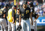 Pittsburgh Pirates starting pitcher Chris Archer leaves a baseball game against the Chicago Cubs in the seventh inning, Friday, July 12, 2019, in Chicago. (AP Photo/Kamil Krzaczynski)