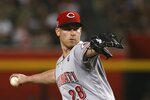 Cincinnati Reds starting pitcher Anthony DeSclafani throws a pitch against the Arizona Diamondbacks during the first inning of a baseball game, Saturday, Sept. 14, 2019, in Phoenix. (AP Photo/Ross D. Franklin)