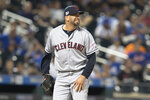 Cleveland Indians relief pitcher Oliver Perez reacts after giving up a single to New York Mets' Joe Panik during the eighth inning of a baseball game Wednesday, Aug. 21, 2019, in New York. (AP Photo/Mary Altaffer)