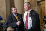 FILE - In this March 23, 2017, file photo, Rep. Steve Stivers, R-Ohio, talks to reporters on Capitol Hill in Washington. Stivers says he'll leave Congress in May 2021 to run his home state's chamber of commerce. Stivers has been serving in the House since 2011 and had been viewed as a potential candidate to run for the seat held by retiring Republican Sen. Rob Portman of Ohio. Instead, Stivers is leaving Congress effective May 16. (AP Photo/J. Scott Applewhite, File)
