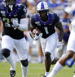 TCU Horned Frogs wide receiver Jalen Reagor (1) runs with the ball after a first half catch. The Kansas Jayhawks played the TCU Horned Frogs at Amon Carter Stadium in Fort Worth, Texas Saturday, Sept. 28, 2019.  (David Kent/Star-Telegram via AP)