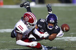 Northwestern's Cameron Ruiz, right, breaks up a pass intended for Massachusetts' Jermaine Johnson Jr. during the first half of an NCAA college football game Saturday, Nov. 16, 2019, in Evanston, Ill. (AP Photo/Jim Young)