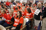 """FILE - In this Aug. 12, 2019, file photo, people wait for a Senate hearing to begin to discuss a fetal heartbeat abortion ban, or possibly something more restrictive in Nashville, Tenn. The assertion by proponents that abortion as early as six weeks into pregnancy """"stops a beating heart""""was arguably the stroke of political genius that helped so-called """"heartbeat bills"""" defy constitutional concerns to become law in 12 states. None has taken effect due to court challenges, the latest being argued Thursday, April 29, 2021, in Tennessee. (AP Photo/Mark Humphrey, File)"""