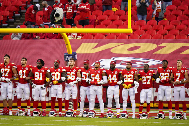 FILE - In this Thursday, Sept. 10, 2020, file photo, Kansas City Chiefs players stand for a presentation on social justice before an NFL football game against the Houston Texans in Kansas City, Mo. (AP Photo/Charlie Riedel, FIle)