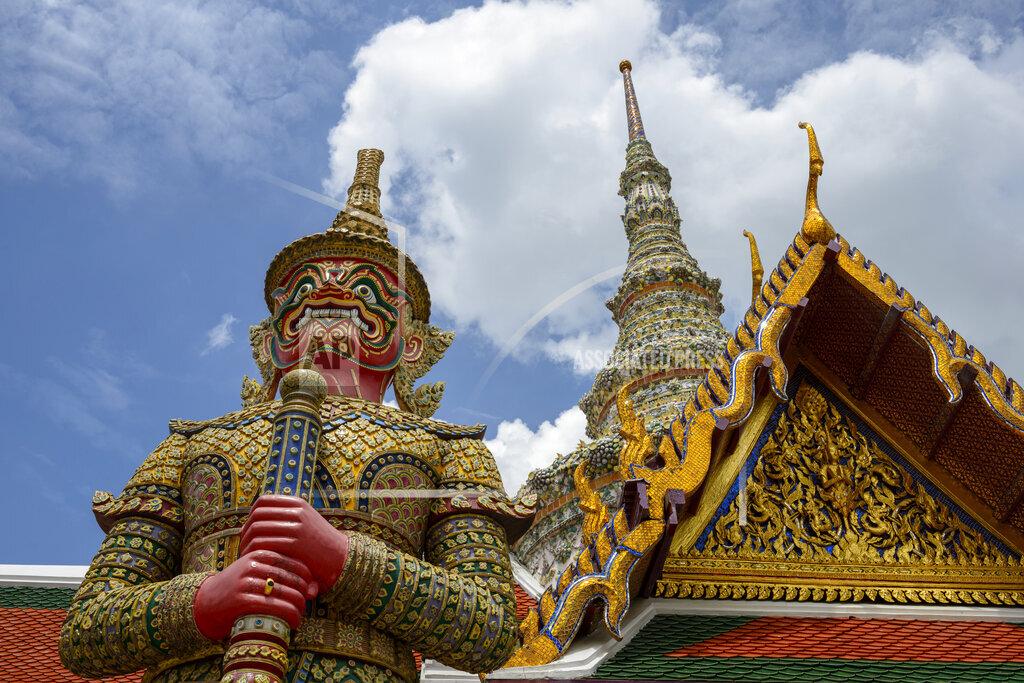Thailand, Bangkok, sculpture of demon at royal palace Wat Phra Kaew
