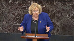 In this image from video, House impeachment manager Rep. Zoe Lofgren, D-Calif., speaks during closing arguments in the impeachment trial against President Donald Trump in the Senate at the U.S. Capitol in Washington, Monday, Feb. 3, 2020. (Senate Television via AP)