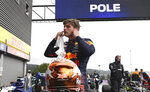 First place for pole position Red Bull driver Max Verstappen of the Netherlands after qualification ahead of the Formula One Grand Prix at the Spa-Francorchamps racetrack in Spa, Belgium, Saturday, Aug. 28, 2021. The Belgian Formula One Grand Prix will take place on Sunday. (John Thys, Pool Photo via AP)