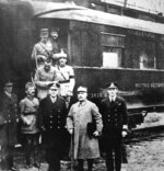 FILE - This undated file photo shows the train wagon in which the armistice of 1918 ending World War I was signed on Nov. 11, 1918, in Rethondes, north of Paris. Standing in front of the train are the most important members of the armistice, Marshal Ferdinand Foch, second right, and General Maxime Weygand, second left. For the French, the dining car became a shrine to peace. For Adolf Hitler, it was a symbol of the humiliation of surrender. The Nazi leader had it dragged to Germany after conquering France in World War II. (AP Photo)