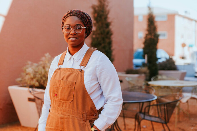 In a photo provided by Mauree Turner For HD88, Mauree Turner poses for a photo in February 2020 in Oklahoma City. Turner is a living example of the growing diversity of big cities. The 27-year-old gay, Black, Muslim woman knocked off a three-term, white male incumbent to win the Democratic nomination for a state legislative seat. People like her have won elections in liberal states on the east and west coasts, but until Tuesday, it had never happened in conservative Oklahoma. (Qazi Islam/Mauree Turner For HD88 via AP)
