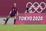 United States' Carli Lloyd celebrates scoring her side's third goal against Australia in the women's bronze medal soccer match at the 2020 Summer Olympics, Thursday, Aug. 5, 2021, in Kashima, Japon. (AP Photo/Fernando Vergara)