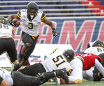 Appalachian State running back Darrynton Evans (3) carries the ball during the first half of an NCAA college football game against South Alabama, Saturday, Oct. 26, 2019, at Ladd-Peebles Stadium in Mobile, Ala. (AP Photo/Julie Bennett)