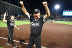 Mississippi State's head coach Gary Henderson celebrates after beating Vanderbilt 10-6 in an NCAA college baseball tournament super regional game Monday, June 11, 2018, in Nashville, Tenn. (AP Photo/Mike Strasinger)