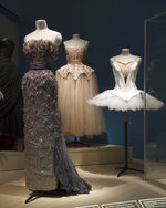 """This photo provided by The Museum at FIT shows a Christian Dior, """"Debussy"""" evening gown worn by ballerina Margot Fonteyn in the spring/summer 1950; Cristobal Balenciaga for Hattie Carnegie, pink silk tulle and satin evening dress with silver metal embroidery; Marc Happel,"""