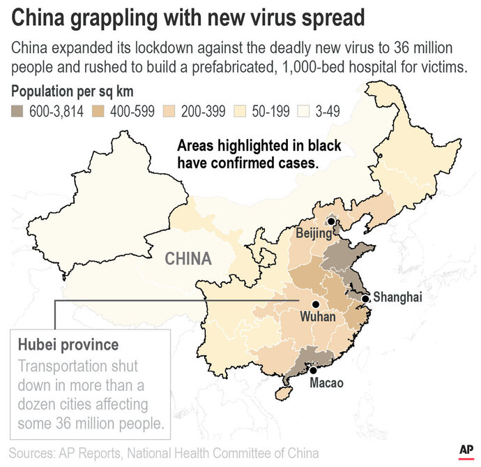 Map highlights provinces with cases of the new coronavirus in China;