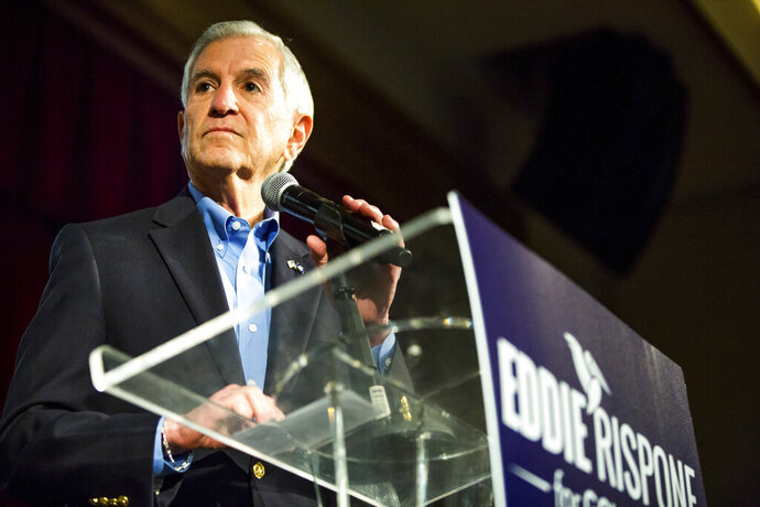 Louisiana Republican gubernatorial candidate Eddie Rispone addresses supporters at his election night watch party at L'Auberge Casino and Hotel in Baton Rouge, La., Saturday, Nov. 16, 2019. (AP Photo/Sophia Germer)