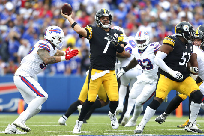 Pittsburgh Steelers quarterback Ben Roethlisberger (7) throws a pass during the second half of an NFL football game against the Buffalo Bills in Orchard Park, N.Y., Sunday, Sept. 12, 2021. (AP Photo/Joshua Bessex)