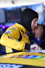 Kyle Busch prepares for NASCAR Cup Series auto racing practice at Texas Motor Speedway on Friday, Nov. 1, 2019, in Forth Worth, Texas. (AP Photo/Larry Papke)
