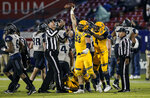 Kent State defensive end Alex Hoag (53) celebrates recovering a Utah State fumble during the second half of the Frisco Bowl NCAA college football game Friday, Dec. 20, 2019, in Frisco, Texas. Kent State won 51-41. (AP Photo/Brandon Wade)