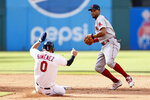 Boston Red Sox's Xander Bogaerts, right, forces out Cleveland Indians' Andres Gimenez (0) at second base and throws out Myles Straw at first base to complete a double play during the third inning of a baseball game, Sunday, Aug. 29, 2021, in Cleveland. (AP Photo/Ron Schwane)