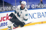 San Jose Sharks' Tomas Hertl celebrates after scoring the game winning goal against the St. Louis Blues during a shootout of an NHL hockey game Wednesday, Jan. 20, 2021, in St. Louis. (AP Photo/Jeff Roberson)
