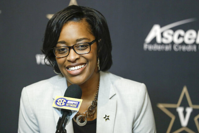 FILE - In this Feb. 5, 2020, file photo, Vanderbilt interim athletic director Candice Lee answers questions during a news conference in Nashville, Tenn. Lee said Monday that Vanderbilt has an opportunity to put its money where its mouth is and prove its commitment to football as they search for a new football coach to replace Derek Mason, who was fired Sunday. (AP Photo/Mark Humphrey, File)
