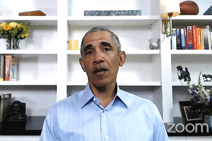 In this image from video provided by My Brother's Keeper Alliance and The Obama Foundation, former President Barack Obama speaks Wednesday, June 3, 2020, during virtual town hall event with young people to discuss policing and the civil unrest that has followed the killing of George Floyd by police in Minneapolis. (My Brother's Keeper Alliance and The Obama Foundation via AP)