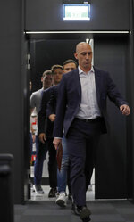 Spanish football president Luis Rubiales arrives for a press conference at the 2018 soccer World Cup in Krasnodar, Russia, Wednesday, June 13, 2018. The Spanish soccer federation has fired coach Julen Lopetegui two days before the country's opening World Cup match against Portugal. Lopetegui was let go a day after Real Madrid announced him as its new coach following the World Cup. (AP Photo/Manu Fernandez)