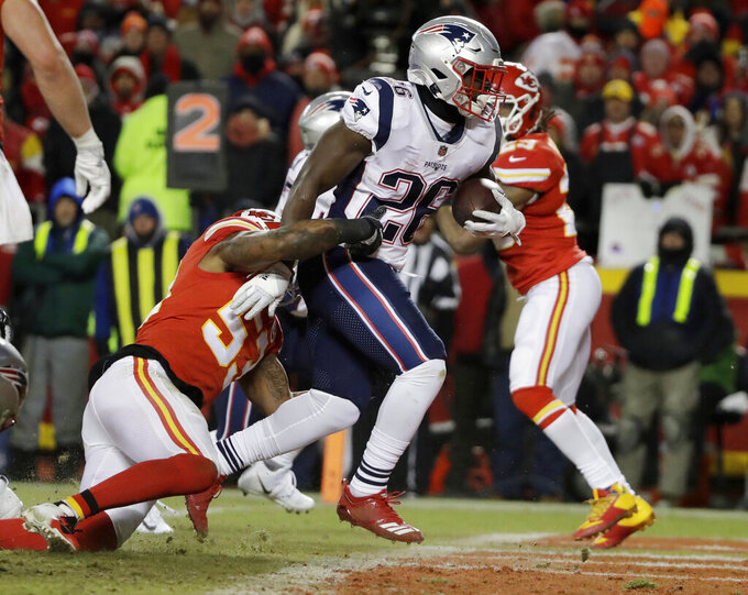 New England Patriots running back Sony Michel (26) runs to the end zone for a touchdown during the first half of the AFC Championship NFL football game against the Kansas City Chiefs, Sunday, Jan. 20, 2019, in Kansas City, Mo. (AP Photo/Elise Amendola)