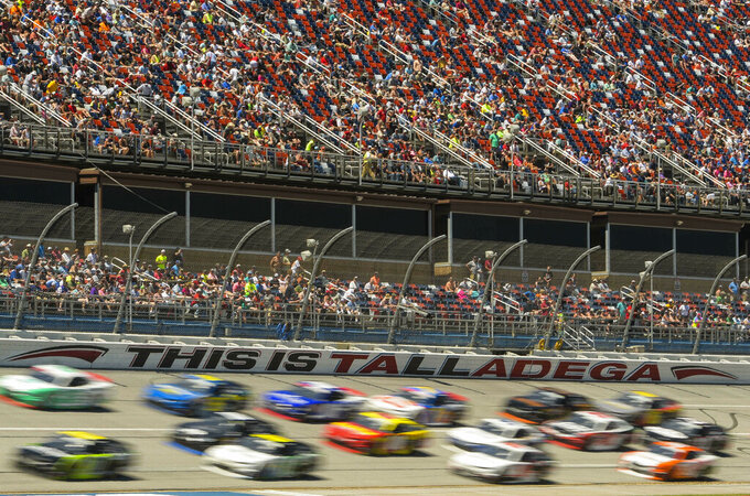 Drivers take to the track for a NASCAR Xfinity Series auto race at Talladega Superspeedway in Talladega, Ala., Saturday, April 27, 2019. (AP Photo/Julie Bennett)