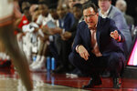 Georgia coach Tom Crean reacts during an NCAA college basketball game against Arkansas in Athens, Ga., Saturday, Feb. 29, 2020. (Joshua L. Jones/Athens Banner-Herald via AP)