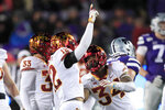 Iowa State defensive back Greg Eisworth (12) celebrates his interception with teammate O'Rien Vance (34) during the second half of an NCAA college football game against Kansas State in Manhattan, Kan., Saturday, Nov. 30, 2019. (AP Photo/Orlin Wagner)