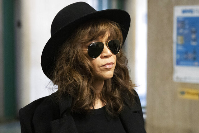Actress Rosie Perez arrives for Harvey Weinstein's rape trial, Friday, Jan. 24, 2020 in New York. (AP Photo/Mark Lennihan)