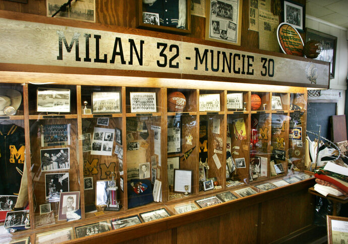 Memorabilia from the 1954 state champion Milan Indians glory days fills players'