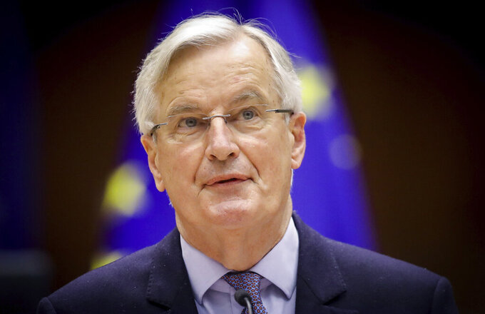 Head of the Task Force for Relations with the UK Michel Barnier speaks during a debate on the EU-UK trade and cooperation agreement during the second day of a plenary session at the European Parliament in Brussels, Tuesday, April 27, 2021. (Olivier Hoslet, Pool via AP)