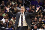 Purdue head coach Matt Painter reacts to a call during the second half of an NCAA college basketball game against Northwestern in Evanston, Ill., Saturday, Feb. 1, 2020. (AP Photo/Nam Y. Huh)