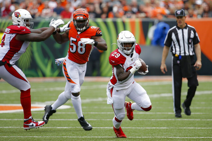 Arizona Cardinals running back Chase Edmonds (29) runs the ball in the first half of an NFL football game against the Cincinnati Bengals, Sunday, Oct. 6, 2019, in Cincinnati. (AP Photo/Frank Victores)
