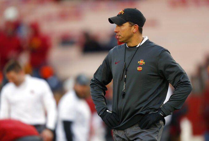 Iowa State head coach Matt Campbell looks on during warmups before an NCAA college football game against Baylor, Saturday, Nov. 10, 2018, in Ames. (AP Photo/Matthew Putney)