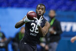FILE - In this Thursday, Feb. 27, 2020 file photo, Baylor wide receiver Denzel Mims runs a drill at the NFL football scouting combine in Indianapolis. The New York Jets are getting healthy again at just the right time. Wide receivers Breshad Perriman and Denzel Mims practiced fully Wednesday, Sept. 9, 2020 and are expected to be healthy for the season opener against the Bills in Buffalo on Sunday. (AP Photo/Michael Conroy, File)
