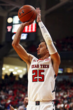 Texas Tech's Davide Moretti (25) shoots the ball during the first half of an NCAA college basketball game against Bethune-Cookman, Saturday, Nov. 9, 2019, in Lubbock, Texas. (Sam Grenadier/Lubbock Avalanche-Journal via AP)
