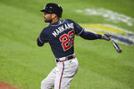 Atlanta Braves' Nick Markakis watches a double during the second inning of the team's baseball game against the Baltimore Orioles, Tuesday, Sept. 15, 2020, in Baltimore. (AP Photo/Terrance Williams)