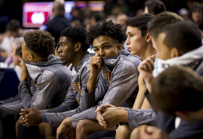Boston College players look on from the bench in the final seconds of their 69-66 loss to Notre Dame in an NCAA college basketball game Saturday, Jan. 12, 2019, in South Bend, Ind. Notre Dame won 69-66. (AP Photo/Robert Franklin)