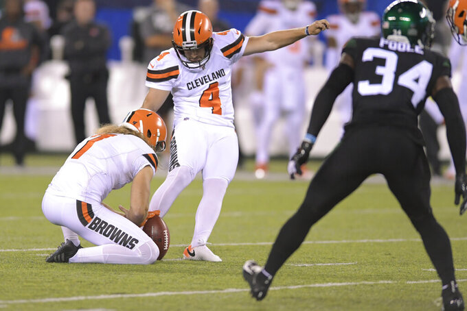 Cleveland Browns' Austin Seibert (4) kicks a field goal during the first half of an NFL football game against the New York Jets, Monday, Sept. 16, 2019, in East Rutherford, N.J. (AP Photo/Bill Kostroun)