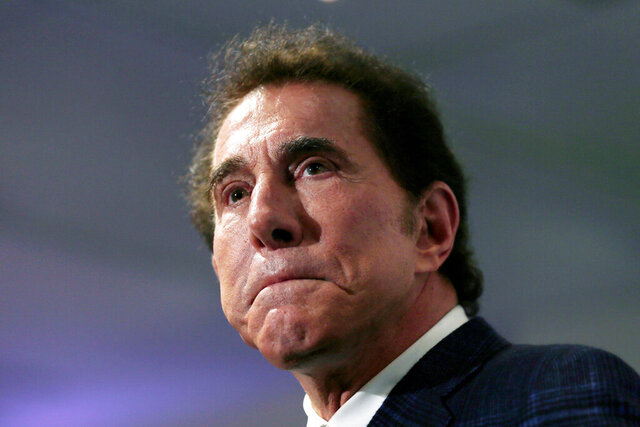 FILE - This March 15, 2016, file photo, shows casino mogul Steve Wynn at a news conference in Medford, Mass. Former Las Vegas casino mogul Wynn's attorneys say Nevada gambling regulators can't discipline him for allegations of workplace sexual harassment because he's no longer licensed by the state or affiliated with the company that carries his name. A document submitted Monday, Dec. 9, 2019, ahead of a Dec. 19 state Gaming Commission hearing says the panel has no jurisdiction and no authority to fine Wynn or revoke his suitability for a license. (AP Photo/Charles Krupa, File)