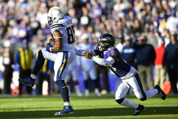 Los Angeles Chargers tight end Antonio Gates, left, catches a pass in front of Baltimore Ravens strong safety Tony Jefferson in the first half of an NFL wild card playoff football game, Sunday, Jan. 6, 2019, in Baltimore. (AP Photo/Nick Wass)