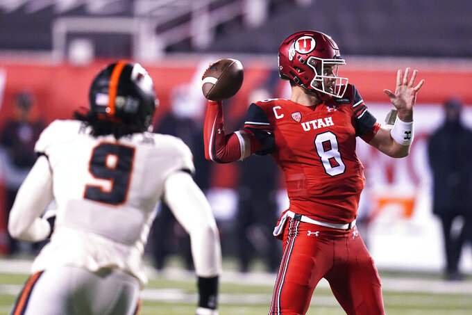Utah quarterback Jake Bentley (8) looks to pass the ball against Oregon State in the first half during an NCAA college football game Saturday, Dec. 5, 2020, in Salt Lake City. (AP Photo/Rick Bowmer)