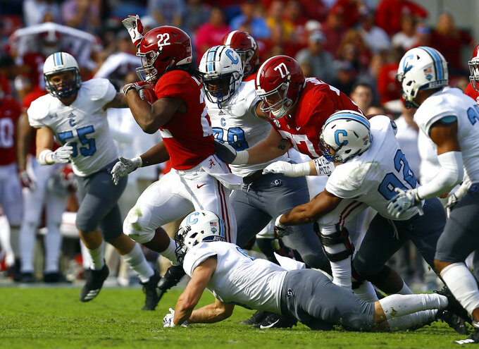 Alabama running back Najee Harris (22) carries the ball against Citadel during the second half of an NCAA college football game, Saturday, Nov. 17, 2018, in Tuscaloosa, Ala. (AP Photo/Butch Dill)
